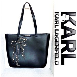 NWT Karl Lagerfeld Black Pear Studded Tote Bag